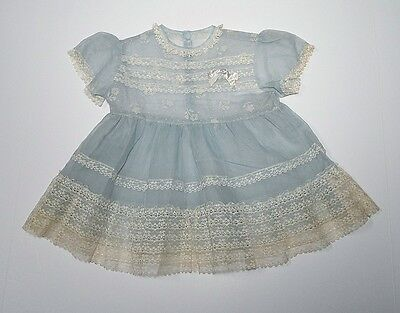 Vintage Baby Toddler Dress - Sheer Blue With Lace - So Sweet!