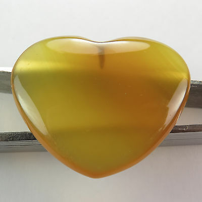 28.40 Cts YELLOW CHALCEDONY AGATE A+ Gemstone Up Drilled Heart Cabochon 27x28 mm