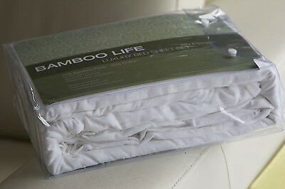 NEW Bamboo Cotton Blend White Satin Stripe Queen Size Bed Sheet Set in RRP $199