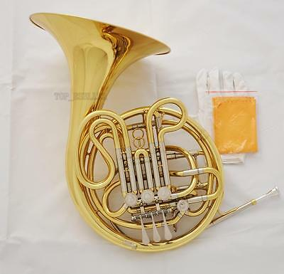 Professional Gold Lacquer Double French Horn F/Bb 4 Key 0.469''Bore with Case