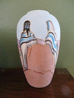 """Vera Russell Southwest Pottery,""""Native Women with Mountain Landscape"""" 22k gold"""