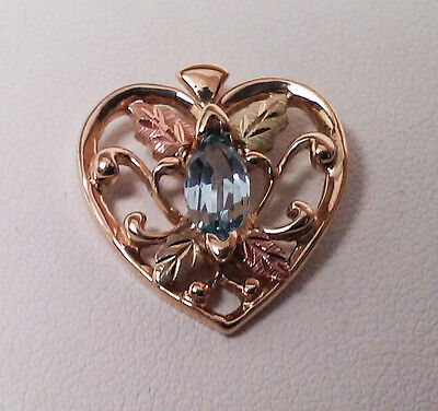 10k Black Hills Gold Heart Charm with Blue Stone 7961-6