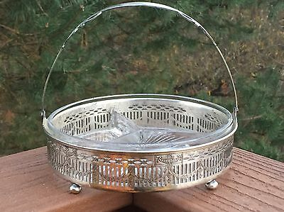 Silverplate Basket with Divided Glass Dish - Urns & Swags Middletown Silver Co.