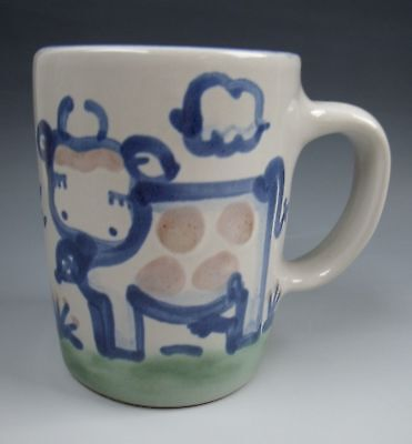 M.A. Hadley China COUNTRY SCENE-BLUE Mug (Cow) EXCELLENT