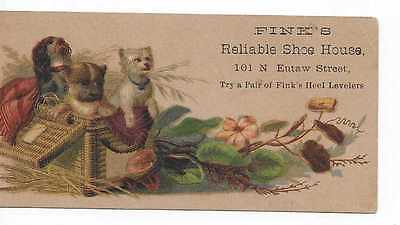 Fink's Shoe House Victorian Trade Card 101 N. Eutaw St. Baltimore Md. 3 Dogs