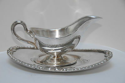 Silverplate Silver Plated Plate Gravy Sauce Boat Underplate Tray Epca Bristol
