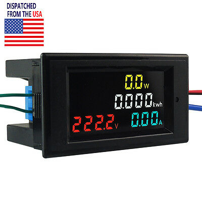 US AC 80-300V 100A LCD Digital Voltmeter Ammeter Volt Amp Power Kwh Panel Meter