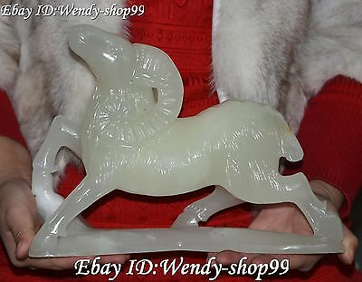Excellent Chinese Natural Jade Hand Carving Zodiac Year Sheep Goat Animal Statue