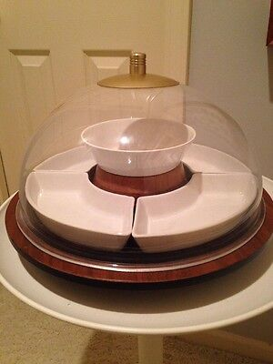 Vtg Mid Century Large Domed Wood Ceramic Lucite Lazy Susan 8 Piece