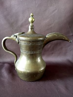 "Antique Islamic Turkish Ottoman Dallah pot Solid Brass HEAVY 3-lbs sits 11"" TALL"