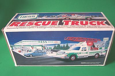 Vintage Collectible 1994 HESS RESCUE TRUCK with Lights and Siren  , New in Box