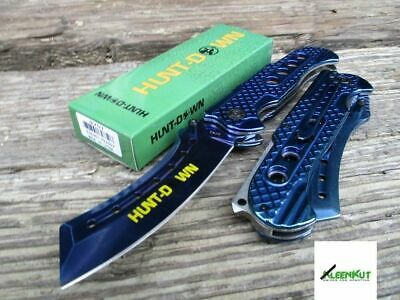 "9"" MIRROR BLUE TACTICAL Spring Assisted Open Folding Pocket Knife CLEAVER RAZOR"