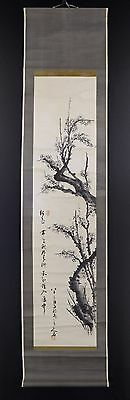 """JAPANESE HANGING SCROLL ART Painting """"Ume blossoms"""" Asian antique  #E3476"""