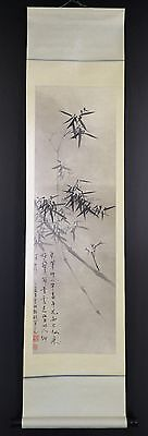 """CHINESE HANGING SCROLL ART Painting """"Bamboo"""" Asian antique  #E3486"""