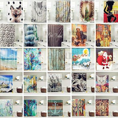 Various Modern Waterproof Bathroom Shower Curtain Panel Sheer Decor With 12 Hook