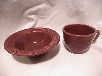 Vintage Bauer Pottery Ringware Burgundy Maroon Cereal Soup Bowl and Cup