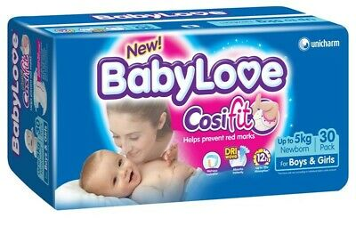 New BabyLove Cosifit Nappies Newborn Up To 5kg 30 Pack Baby Diapers