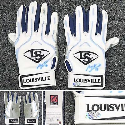 Ben Zobrist Dual Signed 2014 Game Used Batting Gloves 2 AUTO ONYX COA Cubs