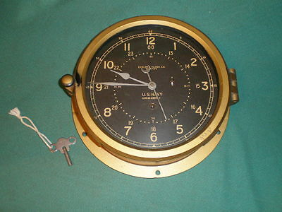 "Vintage 8"" Dial Chelsea Clock Co Boston U.S. Navy Ship Clock w/ Key - Works Good"
