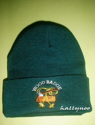 Wood Badge/Boy Scout  2 Beads Beanie Hat/Cap Green Color