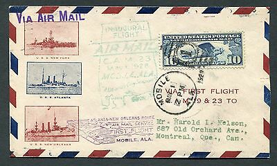 C10 On 1928 First Flight Cover -  Mobile Al To Montreal Quebec Canada