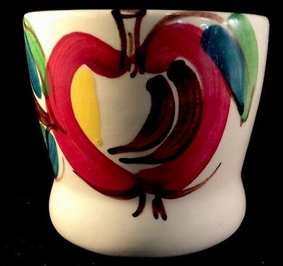 Apple Purinton Pottery Slipware Decorated Tumbler 1940s Hand Painted 6 Ounce