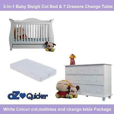 Baby Cot With Mattress Plus 7 Drawer Change Table Dresser Furniture Package
