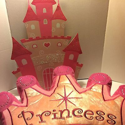PRINCESS Plush Pink &  CROWN PILLOW w/ Pink Castle Wall Hanging