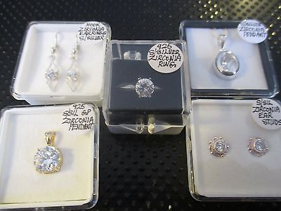 5 x 925 SILVER & WHITE ZIRCONIA, 2 pendants, 1 hanging & 1 ear studs, 1 ring