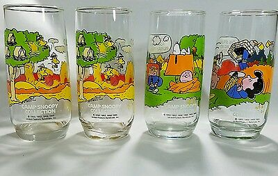 4 Camp Snoopy Collection Peanuts McDonalds glasses, 2 are the same