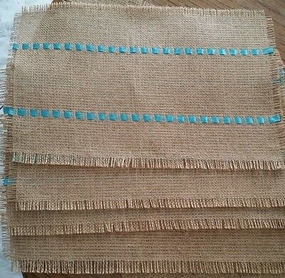 SET of 4 BURLAP PLACEMATS Table mats Country Jute Handmade Place Mats Decor