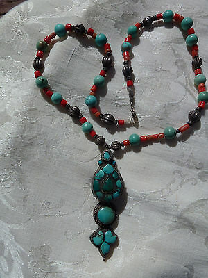 VINTAGE, ANTIQUE, HAND CRAFTED NECKLACE with ANTIQUE TIBETAN HAIR ORNAMENT