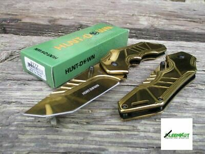 "NEW 8"" TACTICAL SPRING ASSISTED Open Folding Pocket Knife GOLD Blade RESCUE"