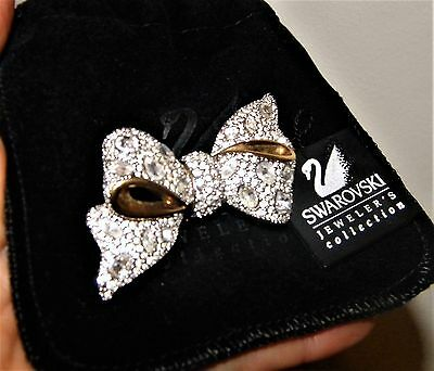 NWT!  GORGEOUS! SWAROVSKI Signed Gold Plated Retired BOW Crystal Pin/Brooch!
