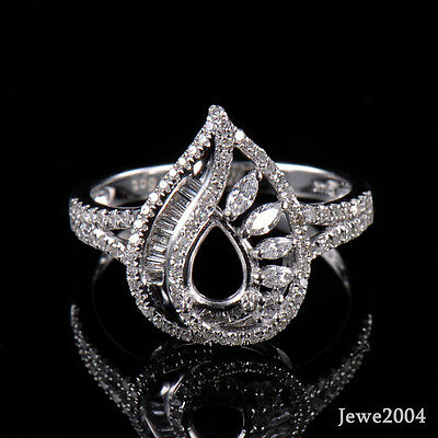 Natural Diamond Semi-Mount Cocktail Ring Setting Fit Pear Cut 5x7mm in 14KW Gold