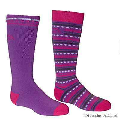 Purple/Fuchsia Merino Ski Socks All Over Sock Underfoot Warmth Pressure