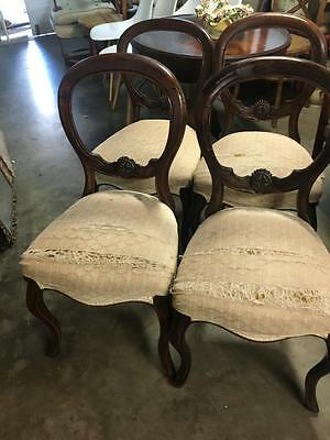 Set Of 4 Antique Balloon Back Dining Chairs On Cabriole Legs..circa 1910
