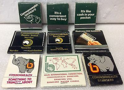 Commonwealth Bank Match Collection. 9 Variations Of Matchbooks