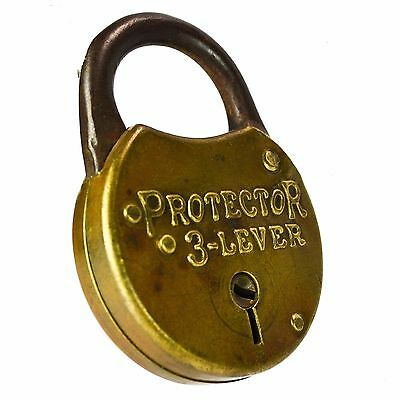 MILLER PROTECTOR 3 LEVER Padlock Old Vintage Antique Brass Pad Lock (no key)