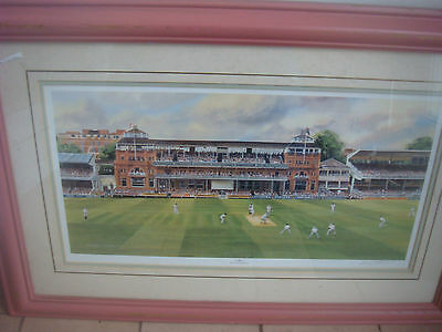 Signed Terry Harrison Cricket Print Lords