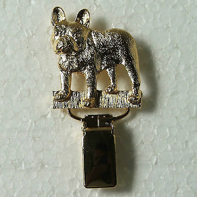 French Bulldog Show Ring Clip 22 ct Gold Plated Dog Breed Jewellery