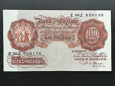 Great Britain Bank England Ten 10 Shillngs B266 Beale No. E56Z 856138 1950 aUNC