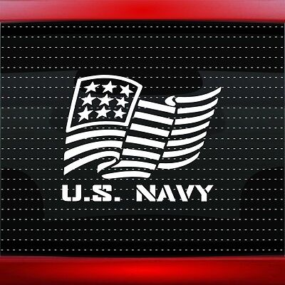 892296328ae U.S. Navy American Flag Car Decal Window Military Sticker Veteran 20 COLORS!