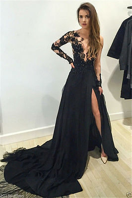 Black Chiffon Long Prom Dresses Formal Evening Party Dress Ball Gown custom Size