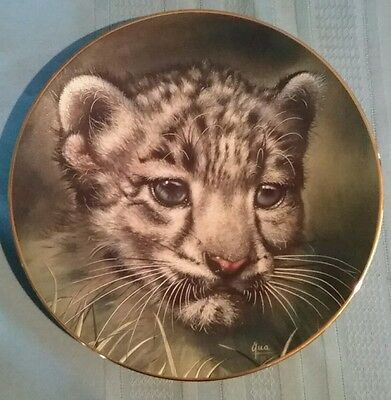 """Decorative Plate """"Snow Leopard Cub"""" by Qua Princeton Gallery Cubs of the Big Cat"""
