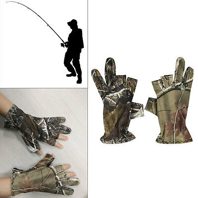Waterproof Fishing Gloves Semi Fingerless 3 Cut Finger Anti-Slip Mitts Camo NEW