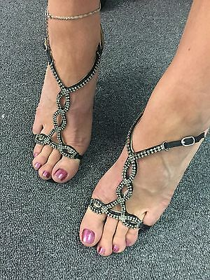 Sexy Black Heeled Sandals Size 38