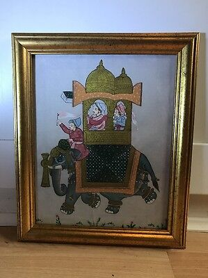 Beautiful Indian Silk Painting Of Elephant In Gold Frame
