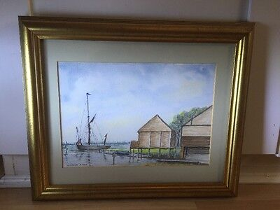 Lovely Signed Watercolour Painting Of Coastal Scene In Gold Frame