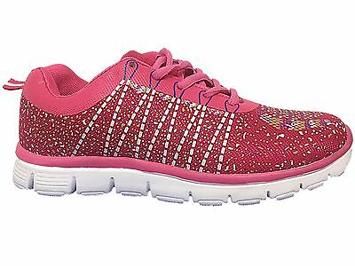 Ladies L/B Sport Pink Trainers Speckle Lace Up Fitness Gym Running Shoes- 2012-6